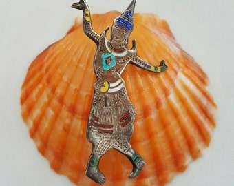 Silver And Enamel Dancing Lady Pin