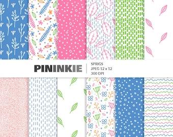 Papier Scrapbooking numérique floral, rose et bleu Pâques numérique Pack papier, papier de Scrapbooking de printemps, feuilles, graines, fleurs, Bright Pastel