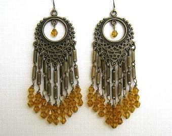 Long Brass and Golden Crystal Chandelier Earrings