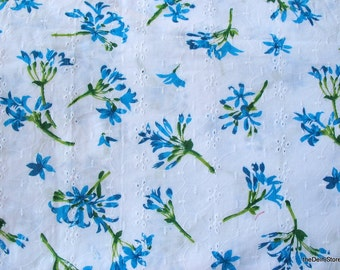 Screen Printed Cotton Eyelet Fabric  by Yard