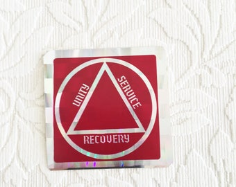 1980s 2 x 2 AA sticker Alcoholics Anonymous prism reflective SOBRIETY circle triangle RED