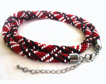 Burgundy Necklace, Seed Bead Rope, Crochet Rope Jewelry, Black and White Stripe, Casual Bead Jewelry, Bead Marsala Accessory-Made in Germany