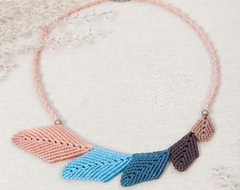 Macrame necklace, handmade jewelry, leaf necklace, micro macrame