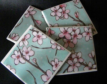 Cherry Blossom Blossoms Shabby Chic Looking Set of Drink Coasters Great Gift Idea!