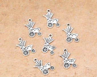 Set of 10 Metal 19 mm x 12mm silver baby carriage stroller pendant charm