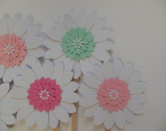 Flower Cupcake Toppers - Pink, Rose, Mint and White Daisies - Girl Birthdays - Bridal Showers - Weddings - Girl Baby Showers - Set of 6