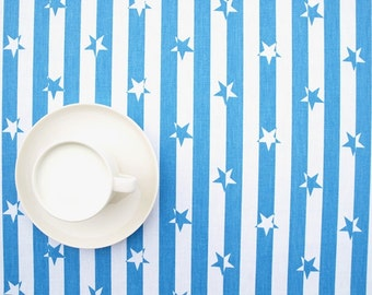 Tablecloth white bright blue stripes stars striped table cloth , table runner , napkins , pillows , curtains available, great GIFT