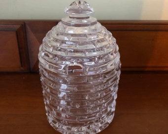 Vintage Crystal Honey Pot Jar Lidded