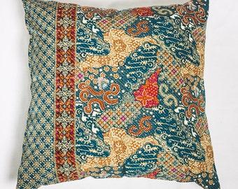 BatikSymphony, Cushion Cover, Decorative Pillow Cover, Bright Authentic Cushion Decor, Throw Pillow, 46 x 46cm