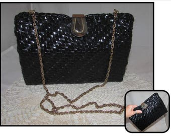 Vintage Convertible Black Vinyl Woven Wicker Style Handbag Purse with Gold tone chain from Frederick & Nelson of Seattle