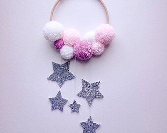 Pom pom and glitter wall hanging dream catcher
