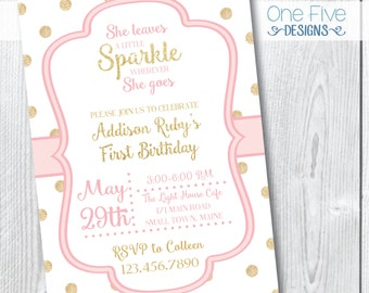 She Leaves A Sparkle Wherever She Goes - 1st Birthday Party Invitation - Printable (5x7)