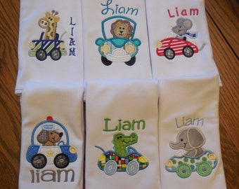 Baby boy Burp Cloth Burp Cloth for baby boy Burp cloths  Burp Cloths with Animals Burp Cloths with cars