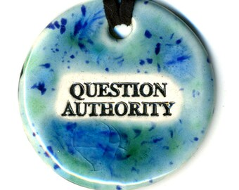 Question Authority Ceramic Necklace in Blue