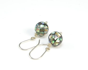 abalone earrings - paua shell earrings - dangle earrings - shimmer tide abalone shell jewelry - round beaded earrings - sterling silver