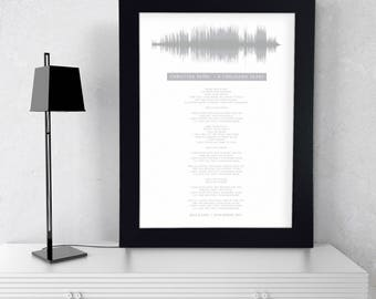 Framed Song Lyrics Sound Wave Print First Anniversary Gift for Husband Wedding