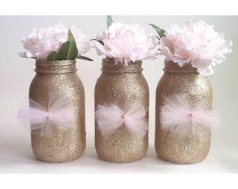 Glitter Mason Jars, Glitter Mason Jars, Gold Centerpiece, Gold Babyshower, Gold First Birthday, Pink and Gold
