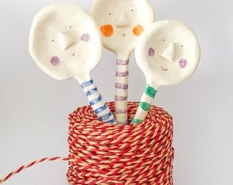 Ceramic spoon with a face, decorative spoon, ornamental spoon, cute serving spoon, sugar spoon