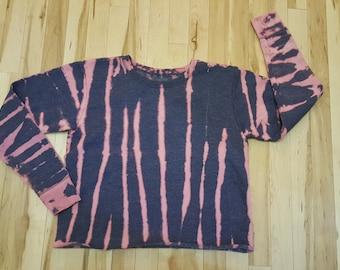 Size Small Women's Blue bleach dyed Sweatshirt, bleach dyed clothing, size small bleach dyed, womens reverse tie dye sweatshirt, reverse dye