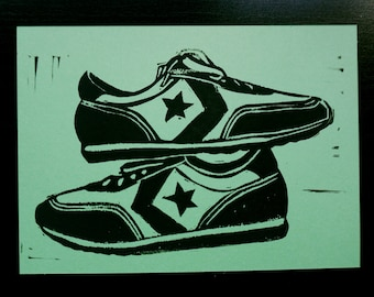 Old school kicks - block print sneaker postcard