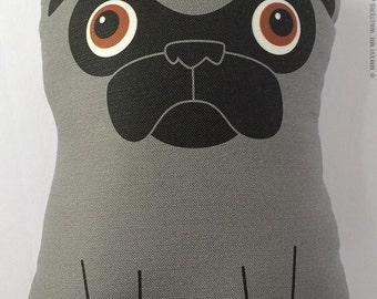Large Dark Silver Pug Plush