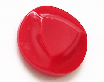 bright red eco friendly vintage shank button with protruding triangular center