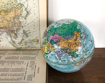 Vintage World Globe Replogle - Educational Home Decor Geography - Small World Globe Gift for Him - Vintage Globe Decor Planet Earth Globe