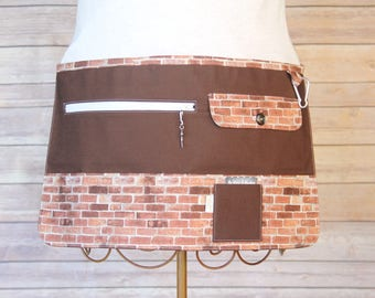 Vendor Apron, Utility Apron, Teacher Apron - Brown with Brick - Ready to Ship