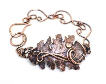 Wire Wrapped Copper Electroplated Oak Leaf Bracelet, Nature Bracelet, Real Oak Leaf Bracelet, Botanical Jewelry, Electroformed Oak Leaf