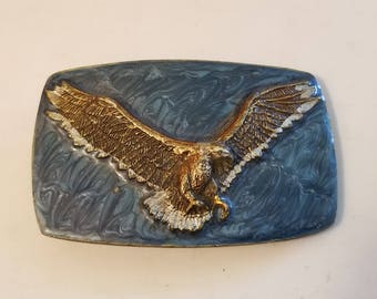 Vintage Solid Brass American Eagle Made in USA BELT BUCKLE 1978'