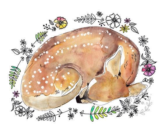 Sleeping fawn deer doe watercolour and ink pen illustration art print