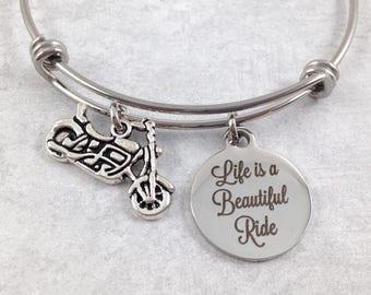Motorcycle Bangle Bracelet, Motorcycle Jewelry, Life is a Beautiful Ride, Ladies Biker Bracelet, Biker Gift