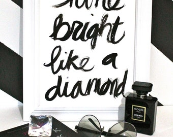 "BESTSELLER - The Original Hand Painted 9x12"" Shine Bright Like a Diamond - Gouache on 9x12"" 140 lb. paper"