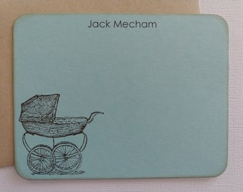 Personalized Baby Thank You Cards / Flat Note Cards - Baby Carriage - Set of 10