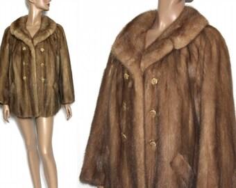 Vintage Mink Coat Real Fur Stroller Length Soft Sable Mink Old Hollywood Glamour Art Deco Art Nouveau Avant Garde