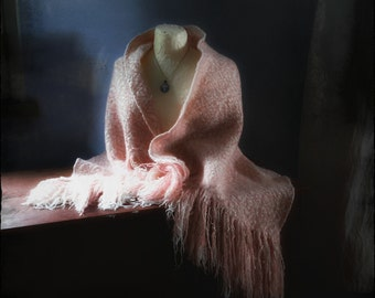 Handwoven shawl cape soft pink heirloom classic with handfelted embroidered brooch button