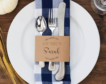 Thanksgiving Place Card, Thanksgiving Table Name Card, Autumn Wedding Place Card, Thanksgiving Party Decor, Fall Wedding Place Card