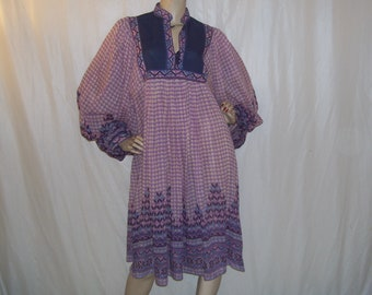 Hippie Gauze Dress Sheer 1970s 70s Hippy Dress Hippie Puffy Gypsy Kayser Sheer Gauze Paper Thin Cotton Purple Blue Dress Adult Vintage XL