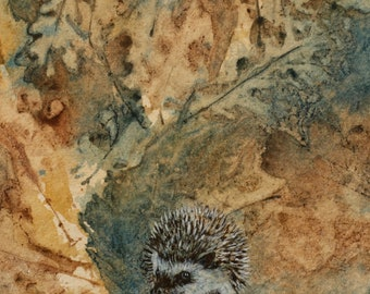 Hedgehog on Leaves in ochre and teal