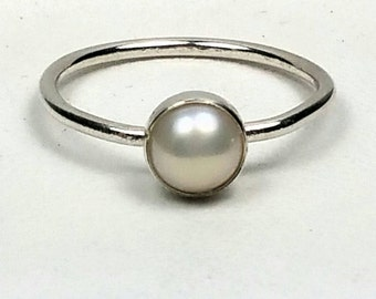 Sterling Silver Pearl Ring Small Pearl Stacking Stackable Ring June Birthstone Jewelry Size 6 Genuine Pearl Birthday Gift for Granddaughter