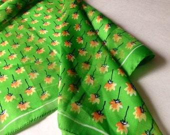 Mod Retro 70's Green Floral Scarf
