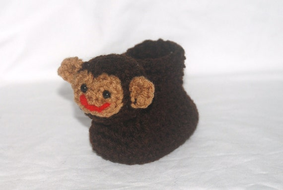 Crochet Pattern 019 - Monkey Baby Booties - 3 Sizes
