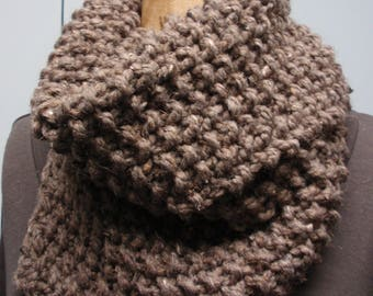 Hand Knit Asymmetric Chunky Cowl Bulky Yarn Taupe Light Brown Color
