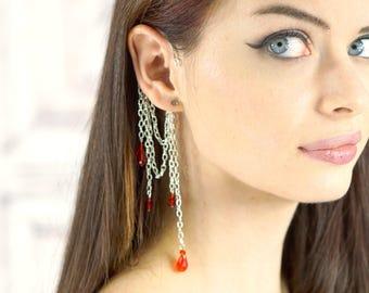 Silver Ear Cuff, Choose Your Crystal Color, Ear Wrap, Dangle Ear Cuff Wrap, Elven Jewelry, Mermaid, Fairy Jewelry, Fairy Earring, Renfest