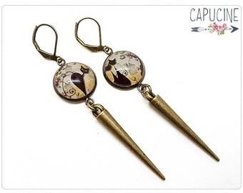 Cats earrings - Chandelier earrings - Glass dome cats earrings