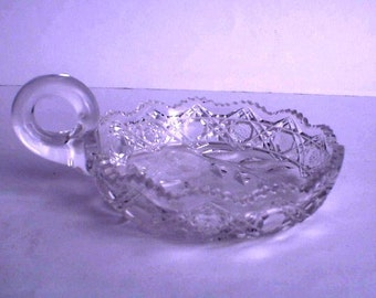 Candy Dish Nappy Brilliant Cut Glass Harvard & Floral Pattern