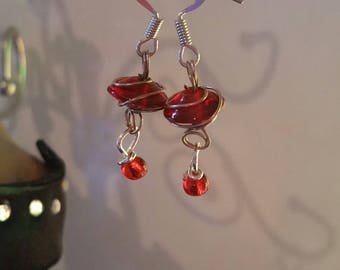 Red wire wrapped dangly earrings