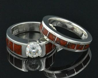 Dinosaur Bone Engagement Ring, Dinosaur Bone Wedding Ring, Dinosaur Bone Bridal Ring Set, Moissanite Engagement Ring