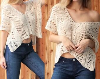 Easy Knit pattern pdf- ALAYA top- Lace knit top, Knitted pattern, Sleeveless top, Knitted Boho top, Patron tricot blouse PDF Sizes XS to 2XL