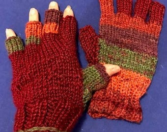 Fingerless/Half Finger Gloves for texting, driving, computer work, crafting - Handknit